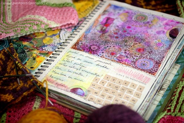 An art journal page and knitting projects by Paivi Eerola from Peony and Parakeet. Read how she has processed her daydreams about becoming an artist!