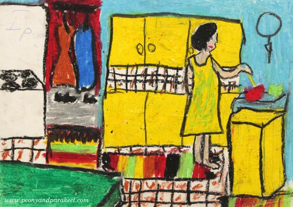 A childhood drawing with oil pastels by Paivi Eerola from Peony and Parakeet.