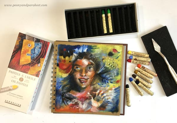 Sennelier oil pastels and an example drawn by Paivi Eerola from Peony and Parakeet.