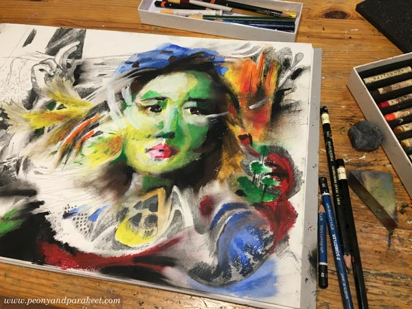 Making of a oil pastel drawing with Sennelier oil pastels. By a Finnish artist Paivi Eerola from Peony and Parakeet.