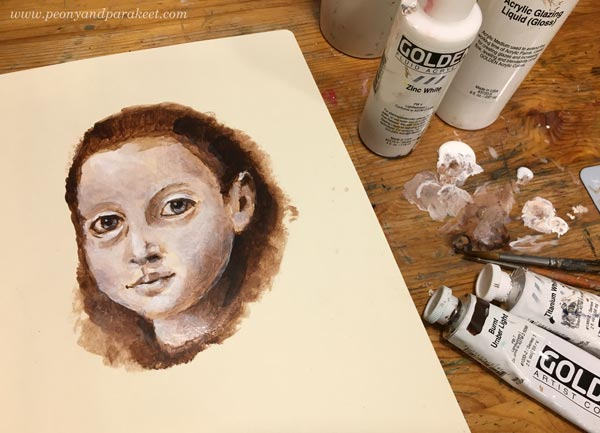 Painting a face. An underpainting with acrylics. By Paivi Eerola from Peony and Parakeet.