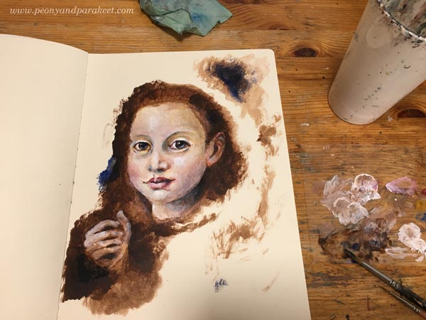 Creating a portrait with mixed media. The first part: acrylic paints. By Paivi Eerola from Peony and Parakeet. This project was created on a large Dylusions Creative Journal.