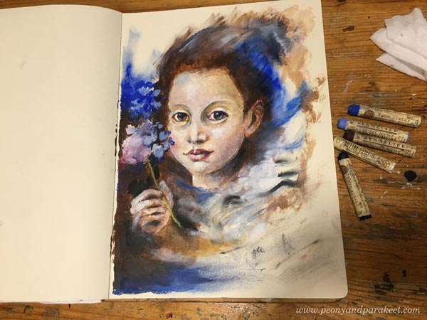 A mixed media portrait in progress. Acrylic paint and Sennelier oil pastels. By Paivi Eerola from Peony and Parakeet.