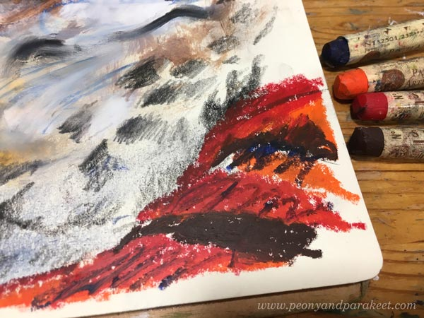 Working with oil pastels. Using oil pastels in mixed media. By Paivi Eerola from Peony and Parakeet.