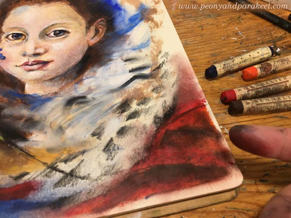 Working with oil pastels. Using oil pastels in mixed media. Blending of Sennelier oil pastels. By Paivi Eerola from Peony and Parakeet.