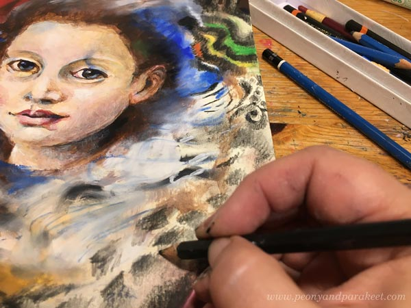 Using graphite pencils in mixed media art. By Paivi Eerola from Peony and Parakeet.