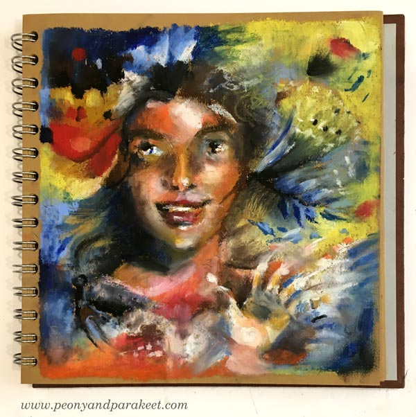 A sketchbook page with Sennelier oil pastels by Paivi Eerola from Peony and Parakeet.