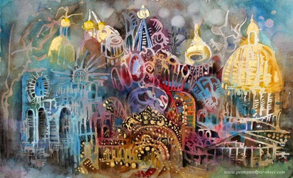 Three Churches of St. Petersburg, Russia. Mixed media watercolor painting by Paivi Eerola from Peony and Parakeet.