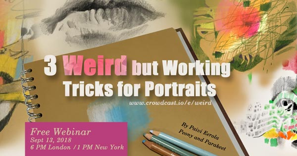 3 Weird but Working Tricks for Portraits, sign up for a free webinar! Weird portraits that you will want to try! By Paivi Eerola from Peony and Parakeet.