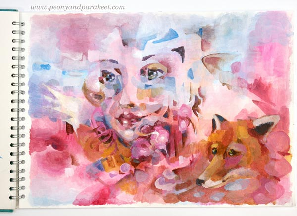 """Self-Portrait as a Fox"" by Paivi Eerola from Peony and Parakeet. An acrylic painting on a sketchbook. See her tips for expressing mystery in portraits!"