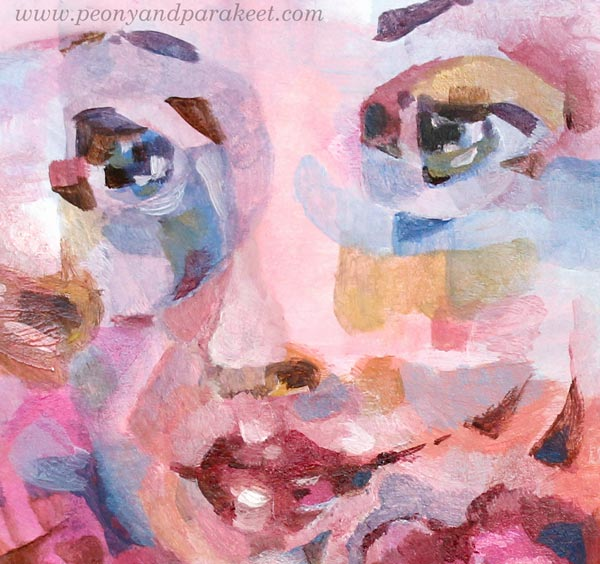 Detail of an acrylic painting. By Paivi Eerola from Peony and Parakeet.