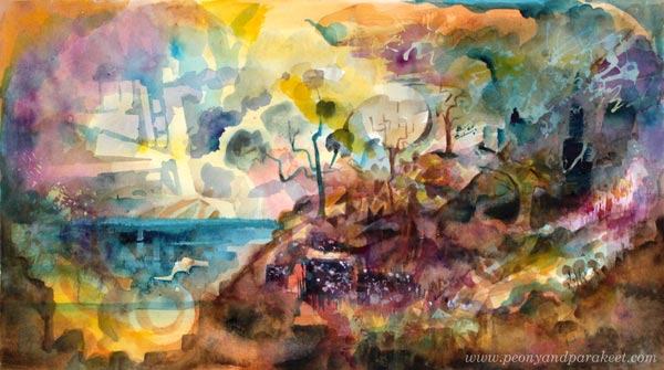 The Resort of Imagination. A watercolor painting by Paivi Eerola from Peony and Parakeet.