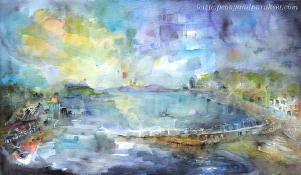 """Oban"". A watercolor painting of a small town in Scotland. By Paivi Eerola from Peony and Parakeet."