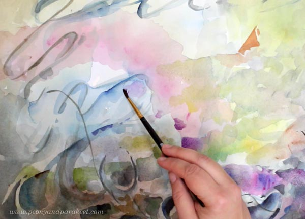 Painting with watercolor. By Paivi Eerola from Peony and Parakeet. See her tips for watercolors in the blog post called Watercolor Wisdom!