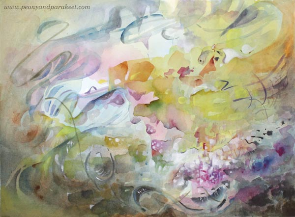 Netfishing, a mixed media watercolor painting by Paivi Eerola from Peony and Parakeet.