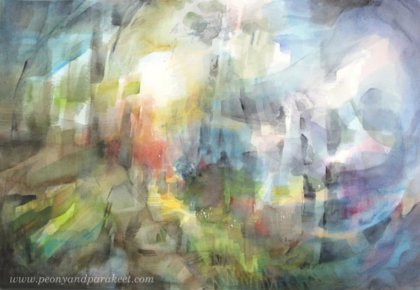 Abstract watercolor painting by Paivi Eerola from Peony and Parakeet. Watercolor inspiration from her class Watercolor Journey.