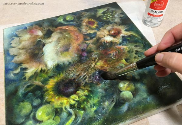 Varnishing an oil painting with Gamvar Picture Varnish. By Paivi Eerola from Peony and Parakeet, Finland.