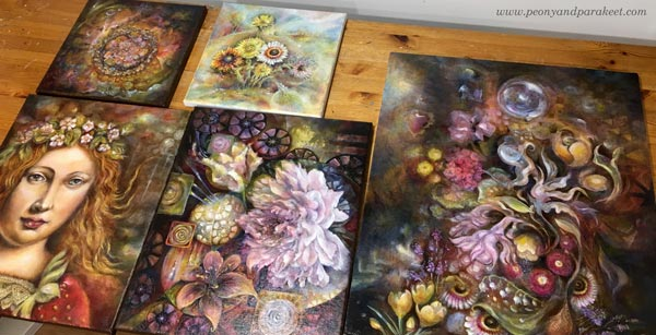 Freshly varnished paintings by Paivi Eerola, Finland.
