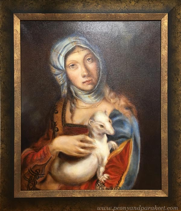 Gypsy Madonna, an oil painting combining Leonardo da Vinci's and Boccaccio Boccaccino's work. Framed and varnished. By Paivi Eerola from Finland.