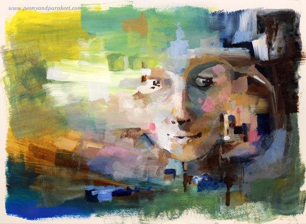 An abstract portrait by Paivi Eerola from Peony and Parakeet. Watch the video with Paivi's tips and instructions!