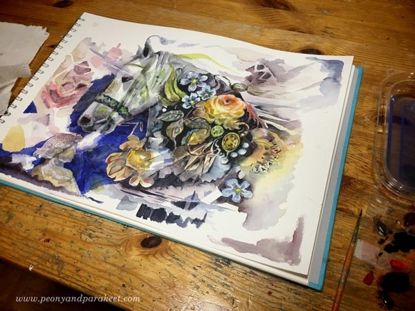 Creating horse art - a watercolor painting in progress. By Paivi Eerola from Peony and Parakeet.