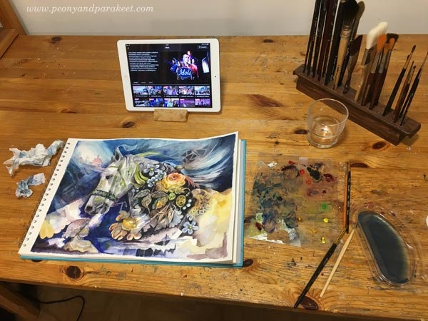 Creating horse art while watching Idols. By Paivi Eerola from Peony and Parakeet.