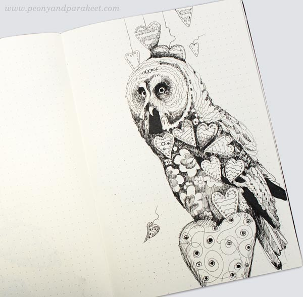 Owl on a dotted notebook. By Paivi Eerola from Peony and Parakeet. See her bujo drawing ideas!