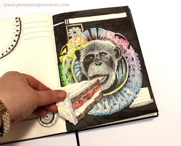 Playing with ink drawings and handdrawn collage pieces. By Paivi Eerola from Peony and Parakeet. Monkey eating cake.