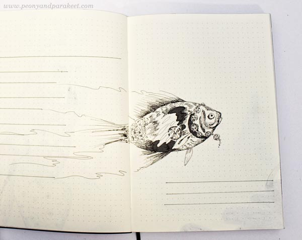 Fish on a dotted notebook. By Paivi Eerola from Peony and Parakeet. See her bujo drawing ideas!