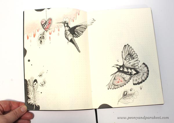 Birds on a dotted notebook. By Paivi Eerola from Peony and Parakeet. See her bujo drawing ideas!