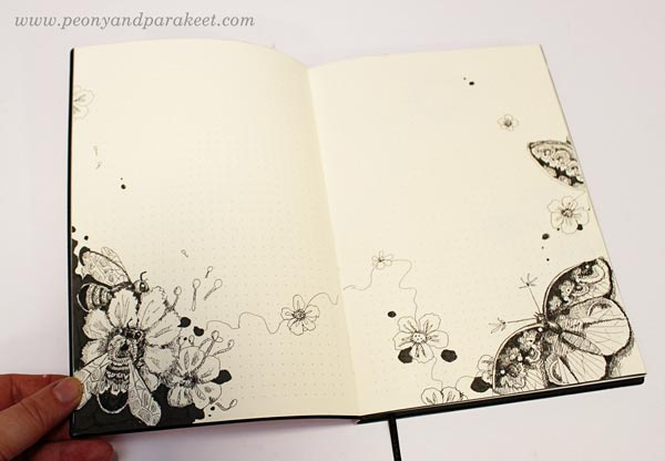 Bees and butterflies on a dotted notebook. By Paivi Eerola from Peony and Parakeet. See her bujo drawing ideas!