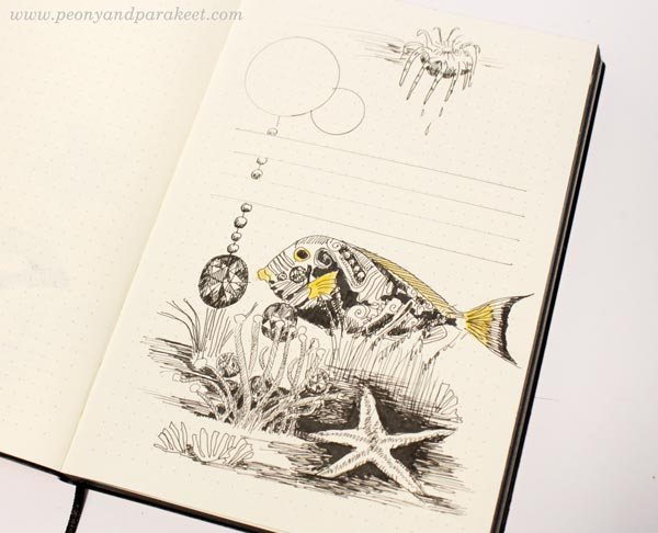 Drawing on a dotted notebook. By Paivi Eerola from Peony and Parakeet. See her bujo drawing ideas!