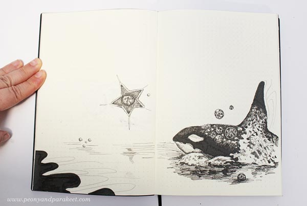 Whale on a dotted notebook. By Paivi Eerola from Peony and Parakeet. See her bujo drawing ideas!
