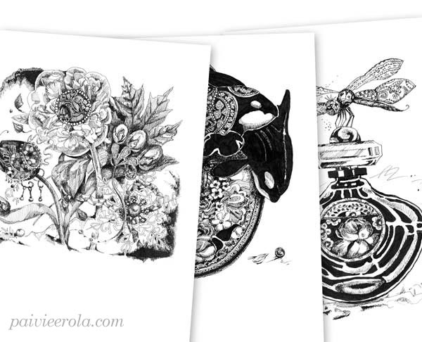 Ink drawings by Paivi Eerola from Peony and Parakeet