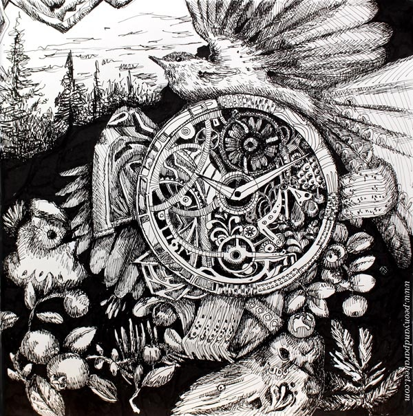 Inktober 2018, day 14, Clock. Art by Paivi Eerola from Peony and Parakeet.
