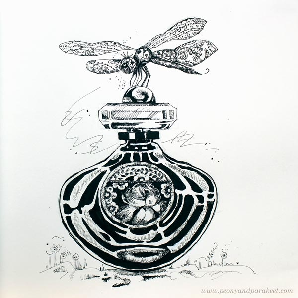 Inktober 2018, day 18, Bottle. Art by Paivi Eerola from Peony and Parakeet.