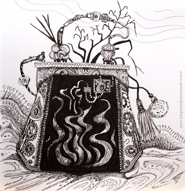 Inktober 2018, day 19, Scorched. Art by Paivi Eerola from Peony and Parakeet.