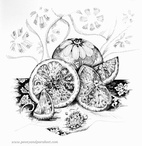 Inktober 2018, day 24, Chop. Inspired by oranges. Art by Paivi Eerola from Peony and Parakeet.