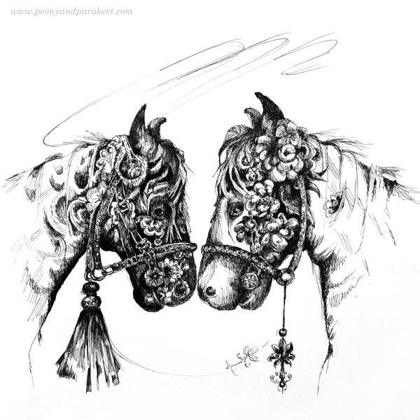 """Double"", horse art by Paivi Eerola from Peony and Parakeet"