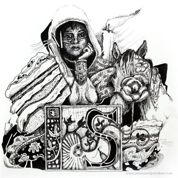 Ink pen drawing by Paivi Eerola.