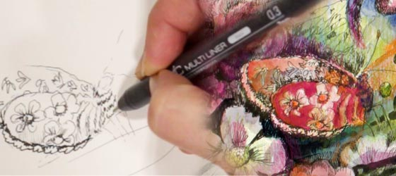 Drawing a butterfly. Sign up for Paivi Eerola's class Animal Inkdom!
