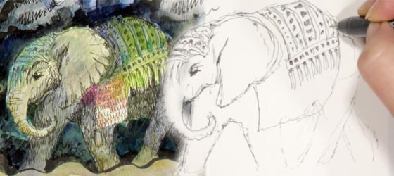 Drawing elephants. Animal Inkdom, a drawing class by Paivi Eerola from Peony and Parakeet.