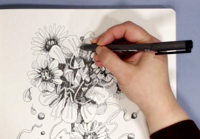 Drawing jewels and flowers. A free mini-course by Paivi Eerola of Peony and Parakeet.