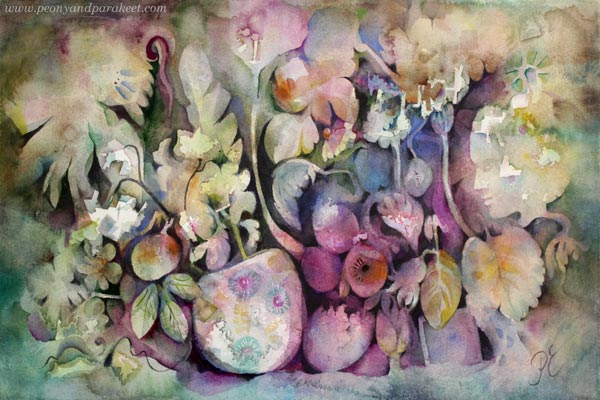 Watercolor painting by Paivi Eerola of Peony and Parakeet.