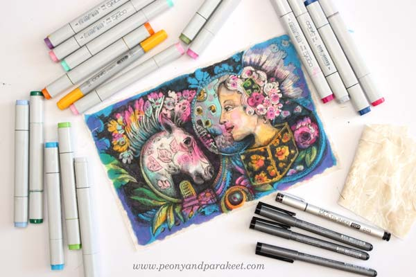 Drawing on fabric with Copics by Paivi Eerola from Peony and Parakeet.