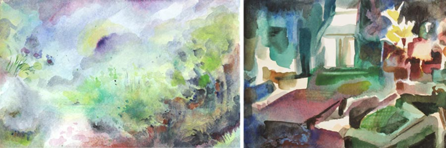 Small paintings from the online art class Watercolor Journey, by teacher Paivi Eerola.