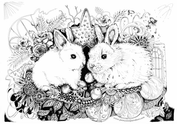 Christmas Bunnies. A drawing by Paivi Eerola from Peony and Parakeet