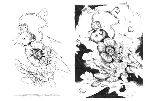 A sketch and the finished drawing by Peony and Parakeet. Watch Paivi's webinar about the joy of drawing and get her tips to enjoy and keep drawing!