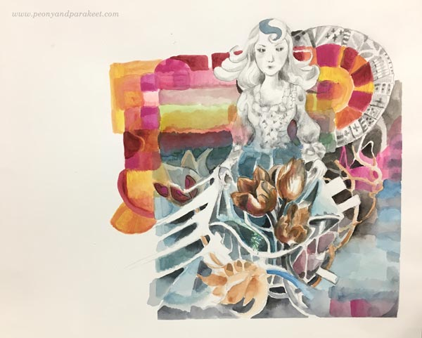 Creating mixed media art by Paivi Eerola from Peony and Parakeet.