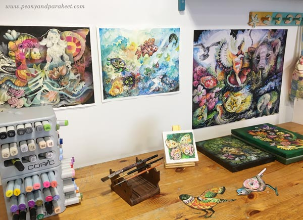 Paivi Eerola's art studio full of joyful art.